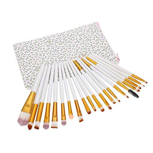 Pinceaux à paupières -20 Pcs Fard à paupières pinceaux cosmétiques poudre fond de teint pinceaux maquillage ensemble avec sac(Blanc + or)