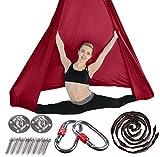 Brinny Yoga DIY Silk Pilates Premium Aerial Silks Equipment Aerial Yoga Toalla Aerial Silk Elástica Yoga Hamaca con Tela Accesorios 5 Metros Rojo Vino