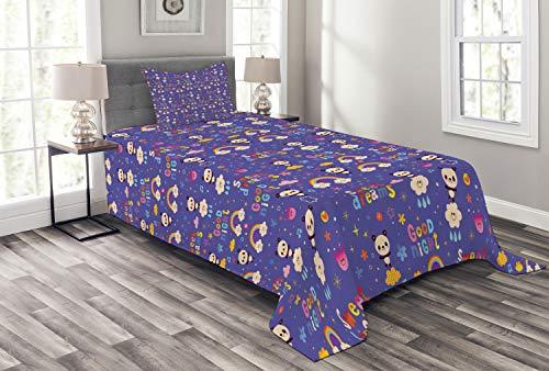 Lunarable Panda-Tagesdecke, buntes Nachtkonzept mit chinesischen Bären, Regenbogen & Noten, dekoratives gestepptes 2-teiliges Bettbezug-Set mit Kissenbezug, Doppelgröße, blau / violett