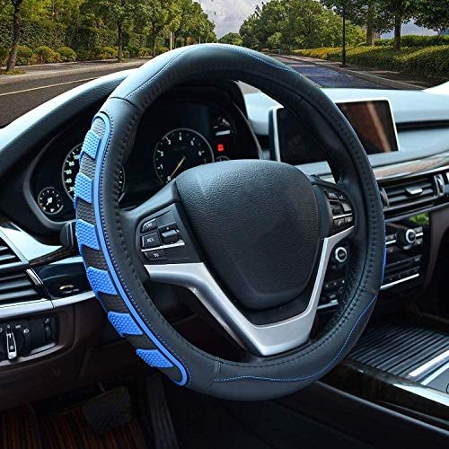 Car Steering Wheel Cover with Durable PU Leather, Universal 15 inch Fit for Car Truck SUV, Breathable Anti Slip Auto Steering Wheel Covers for Men and Women, Blue