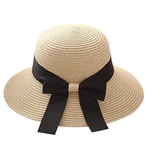 Flying Rabbit Damen Sonnenhüte Faltbarer Strohhut mit Sonnenschutz Breite Krempe (Style-1-Beige)