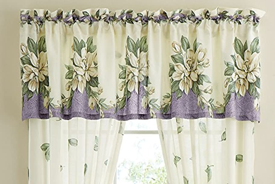 Magnolia Garden Floral Leaf Rod Pocket Window Curtains - Country Cottage Chic Design, Lilac, Valance