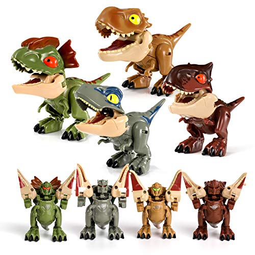 2 in 1 Dinosaur Robot Transforming Toys,4Pcs Transformers Dinosaur Robot with Movable Limbs, Tail...