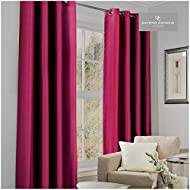 Gaveno Cavalia Luxury Thermal Fully Lined Pair of Eyelet BLACK OUT CURTAINS Fuchsia 66x90 Cm