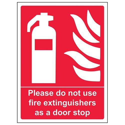VSafety Gebruik Brandblusser alsjeblieft niet als deurstopbord - 150mm x 200mm - Zelfklevende Vinyl