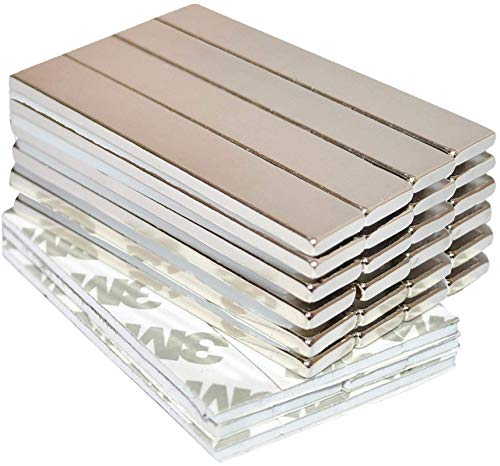 Strong Magnets Rare Earth Neodymium: Bar Super Permanent Metal Rectangular Adhesive, 60x10x3mm Powerful Pull Force, 24 Piece| Heavy Duty, Fridge Door, Garage, Kitchen, Science, Craft, Art, Office, DIY