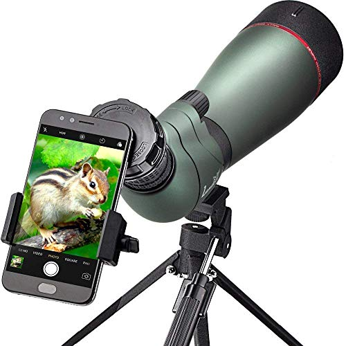 Landove Waterproof Spektiv 20-60X 80mm, High Power mit Stativ & Digiscoping Adapter, stoßfest, beschlagfrei, BAK4 Porro Prisma, voll Multi-Coated Optik (20-60x 80 Spektiv)