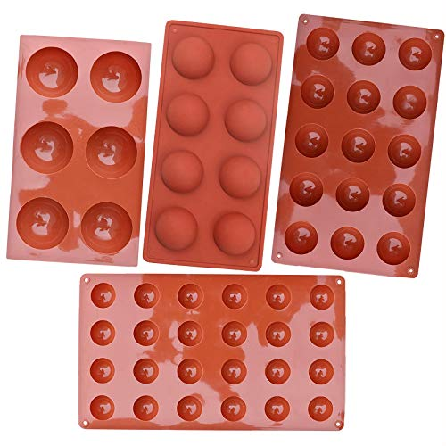 Semi Sphere Silicone Mold 4 Pcs Variety Sizes Half Sphere Chocolate Silicone Mould Bakeware Set for CakeJelly PuddingDome Mousse68 1524 Holes