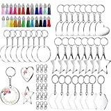 111pcs Acrylic Keychain Blanks, Acrylic Transparent Circle Discs With Key Chain Rings Tassel Pendant Keyring Set for DIY Projects and Crafts Tassel Keychain Crafts and Jewelry Ornaments Making