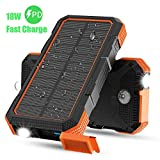 Solar Charger, X-DRAGON 24000mAh 18W Fast Charging Solar Power Bank External Battery Pack with Dual Input(USB C & Micro), Flashlight, Compass for iPhone, iPad, Samsung, Cell Phones, Outdoors, Camping