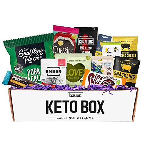 Bauer Keto Snack Box - (12 Snack Variety Pack) - Assorted Snacks Selection for Low-Carb and Ketogenic Diet (Combination 1)