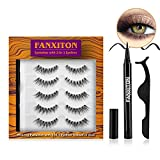 5 Pairs Natural Eyelashes with Full Upgrade Eyeliner - Secure Strong Hold for Lashes - No Magnet and No Glue - Lightweight and Non-irritation