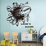 keletop Nom personnalisé Rugby Stickers muraux garçon Chambre Maternelle Grand Football nom personnalisé Boule de Sport Sticker Mural Chambre Vinyle décoration 56 cm x 53 cm