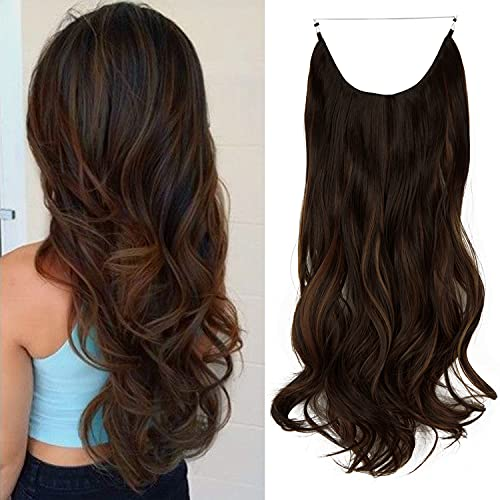 FUT_Forever 18' Invisible Secret Wire Hidden Hair Extensions One Piece Curly Wavy Hidden Hair Extension Dark Brown Mix Light Auburn Synthetic Hairpieces for Women No Clip