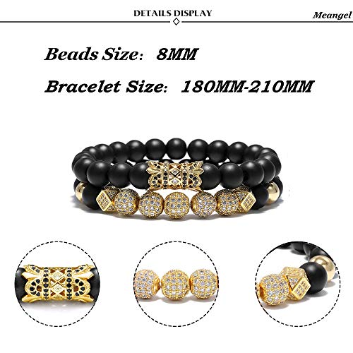 Meangel 8mm Charm Beads Bracelet for Men Women Black/Gold Matte Onyx Natural Stone Beads, 7.5″