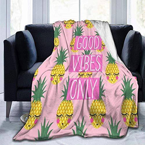 Manta Piña de Fruta Verde Amarillo Rosa 3D Impresión Manta de Franela Suave Franela Cálida Manta de Lana para Cama,sofá,Silla,Viaje,etc 130 cm x 150 cm