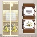 Zanzariere per tende per porte, zanzariera per zanzariera magnetica, zanzariera, zanzariera per tende a rete per balcone porte scorrevoli soggiorno camera dei bambini,Beige golden peacock,80*220