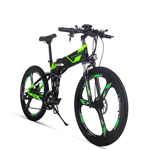 GUOWEI Rich bit RT-860 36V 12.8AH 250W Bicicleta Plegable eléctrica Bicicleta de Ciudad de suspensión Completa (Black-Green)