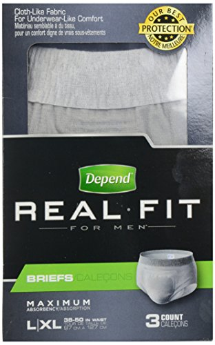 Depend Real Fit for Men Incontinence Briefs, Maximum Absorbency, Large/Extra Large, 3 Count