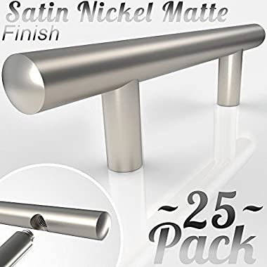 [3.75 ~25 Pack] Bar Handle Pulls for Kitchen Cabinets | NEW 2018 Design - Round Precision Contoured Ends & Satin Nickel Matte Finish | Stainless Steel Cabinet Hardware | 3.75 Inch Centers