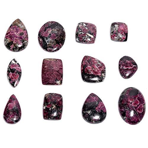 Gemkora 4pcs Natural Eudialyte Gemstone Wholesale Cabochons Lot, Jewelry Making Loose Gemstone, Polished Home Decor Specimen, DIY, Wire Wrapping, Reiki, Healing Crystals, Bulk Gemstone Deal