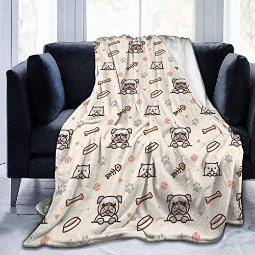 Elegante perro perrito y plegable con huellas de huesos impresos personalizados ultra suave manta de forro polar manta de cama alfombra de 40 x 50 pulgadas