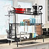 Over The Sink Dish Drying Rack, WeluvFit 2 Tier Large Stainless Steel Utensil Holder Dish Drainer, Kitchen Organization and Storage Shelf with Rust Proof Painting for Home Kitchen Counter Space Saver…