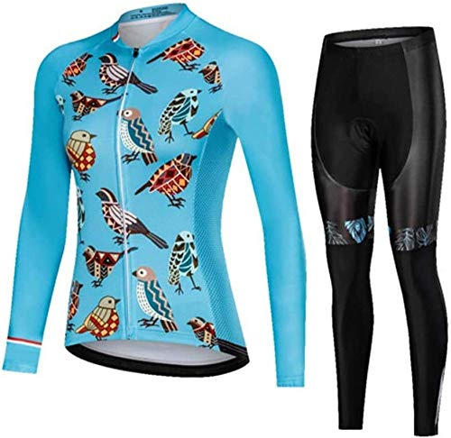 Women's Long Sleeve Cycling Jersey Set,Bicycle Clothes Bib Shorts Pro Gel Sports Wear Dress Kit,F-XXXL