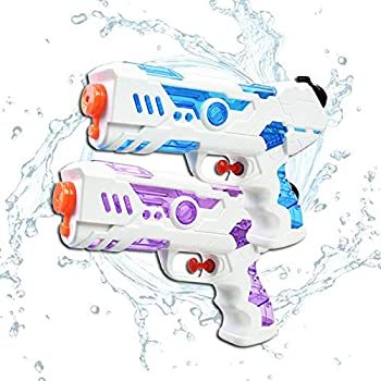 Tuptoel New Upgraded Water Guns - 2 Pack Compact Squirt Guns for Girls/Boys 300CC Portable Water Blasters Summer Toys Beach Sand Pool Toys Party Favor  Blue