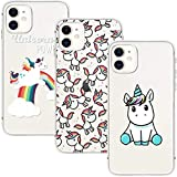 Young & Ming Coque pour iPhone 11 6.1'',3 Pack Transparent Housse TPU Silicone Coque de Protection pour iPhone 11 6.1'',Unicorn