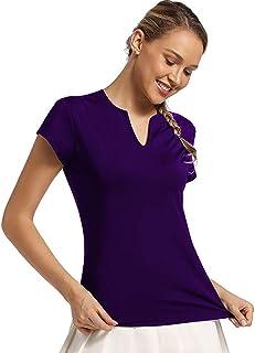 Ultrafun Womens V-Neck Running Shirts Quick Dry Short Sleeve Pullover Sports Shirts T-Shirt for Tennis Golf Athletic Gym Yoga