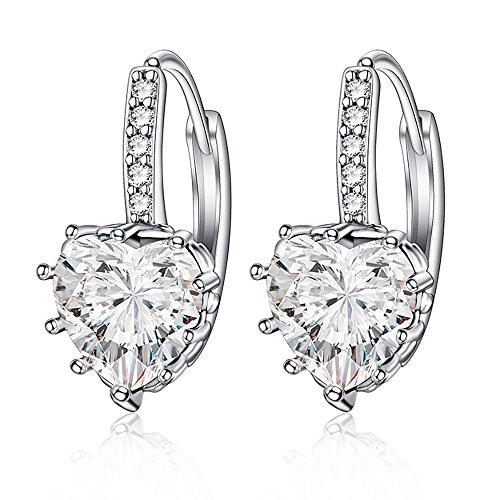 Aretes en forma de corazón de diamante circón regalo idea para las mujeres novia madre hija Glitter Crystal Stud pendientes