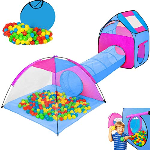 Children's Game Tent, with Tunnel Game House Three-Piece Foldable, Igloo Pop Up Play House with Ball Pit, Environmental Protection, Environmentally Friendly Materials, Parent-Child Interaction