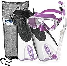 Cressi Italian Design Collection - Palau Short Self Adjustable Fin - Purge Dry Top Snorkel - Onda Colorama Silicone Mask - Mask Fin Snorkel Set - Lilac, S/M   US Man 6.5/8.5   US Lady 7.5/9.5