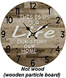 Round Wall Clock - 14 Inches – Decorative Farmhouse Wood Style Home Décor Vintage Rustic Decoration Retro Design Quartz Battery Operated
