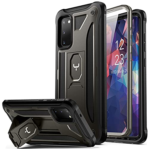 YOUMAKER Designed for Samsung Galaxy S20 5G Case with Built-in Screen Protector and Kickstand Shockproof Case Work with Fingerprint ID Military Grade Drop Tested Cover for Galaxy S20 6.2 inch - Gun