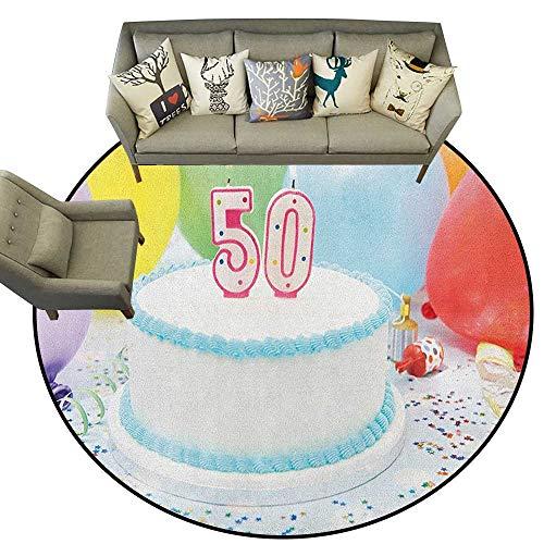 J Chief Sky 50e verjaardag, Kids tapijten Grungy Display met verouderde rubberen stempel voor vijftig jaar oude felicitatie ronde tapijten voor kinderen peuters woonkamer