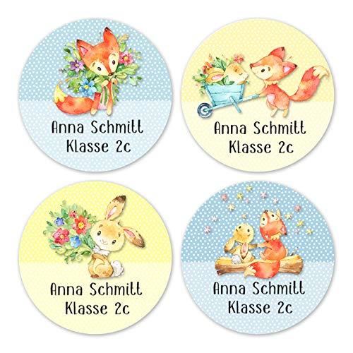 Papierdrachen 24 individuelle Aufkleber für Kinder - Motiv Hase und Fuchs - personalisierte Sticker - Perfekt zur Einschulung - Geschenk für die Schule - Namensaufkleber und Schulbuchetiketten