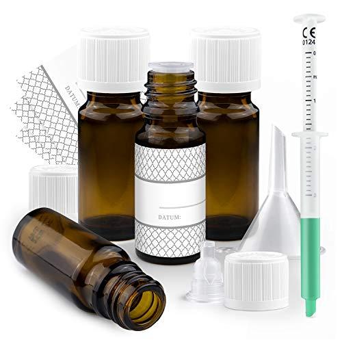 MIMATI Set - 4 Tropfflaschen 10 ml aus Braunglas mit Etiketten, Trichter & Dosierpipette für die sichere & praktische Aufbewahrung ätherischer Öle