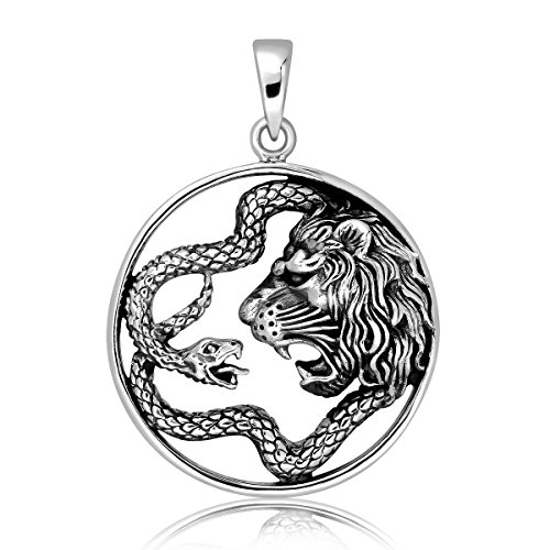 WithLoveSilver 925 Sterling Silver Celtic Ouroboros Snake Serpent and Lion Pendant