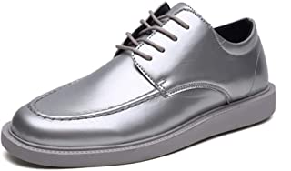HongJie Hou Luxury Fashion Oxford for Men Nightclub Wear Shoes Lace up Shiny Patent Leather Flat Antislip Outsole (Color : Silver, Size : 8.5 UK)