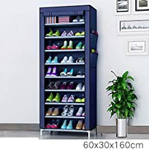 Zizer Home 9 Tiers Multi-Purpose Shoe Storage Organizer Cabinet Tower Racks with Iron and Nonwoven Fabric and Zippered Dustproof Cover, Standard Size, Navy