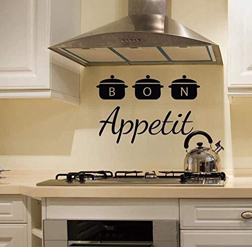 Bon Appetit wandsticker, afneembaar, voor binnen, café, restaurant art, wanddecoratie, pannen, vinyl, keuken artikel, 57 x 86 cm