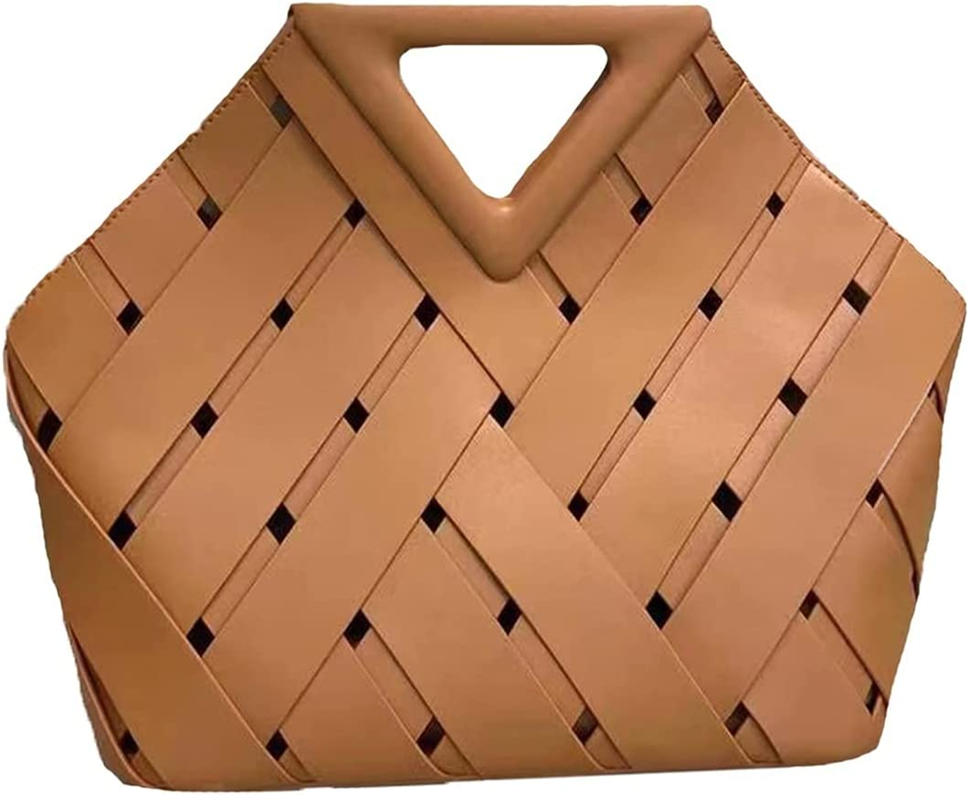 GOUHOME Women's Handbags Hand-Woven Hobo Tote Bags Large Capacity Clutch Purse Shoulder Crossbody Bag (Color : Brown, Size : 12x12x5inch)