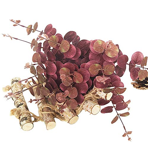 AOIWE Artificial Plant Eucalyptus Garland Artificial Artificial Leaves Green Artificial Leaves for Home Decor Artificial Leaves Garland green (Color : Red)