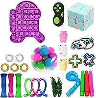 感覚のフィジットのおもちゃセット、指の感覚玩具セット、子供の大人のためのストレスと不安のおもちゃの束を和らげる、面白い、特別な玩具の盛り合わせ、Adhd (Color : 27pcs Purple)