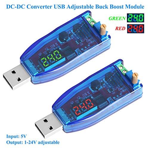 Innovateking-EU 2 Stück DC-DC-Wandler, USB verstellbar, Buck Boost-Netzteil, Spannungsreglermodul, 5 V bis 3,3 V, 9 V, 12 V, 24 V, DP, rotes Licht Display und grünes Licht