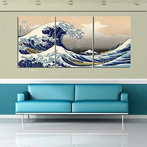 RuYun Lienzo de impresión Home Decor 3 Katsushika Hokusai Gran Ola de Kanagawa Vista del Mount Fuji Pintura de Pared, sin Marco, 40 cm x 60 cm x 3 Piezas