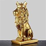 YOUZE 4 Colori Corona d'oro Statua Leone Resina Moderna figurina Animale Bianco/Nero Decorazione della casa Artigianato da Tavolo Scultura, Oro