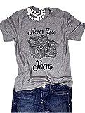 Never Lose Focus Shirt Women Camera Graphic Cute O-Neck Short Sleeve T-Shirt Top (Medium, Gray)